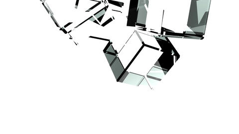 Glass Cubes Abstract On White Background CG動画素材