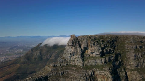Aerial Table Mountain Top In Cape Town Footage