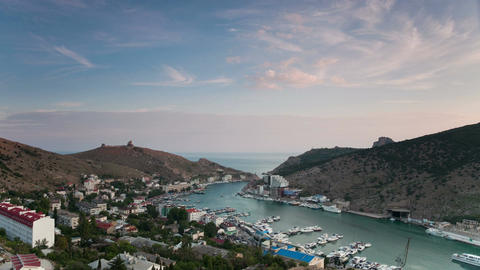 Balaklava bay view from above at sunset ビデオ