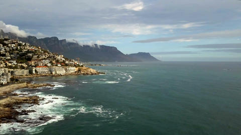 Aerial Wide View Of Cape Town South Africa's Coastline With Table Mountain Footage