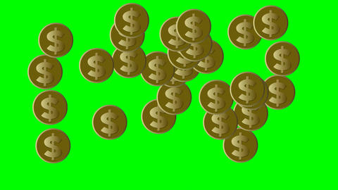 Gold coins with US dollar symbol moving on green screen, loop animation with Animation