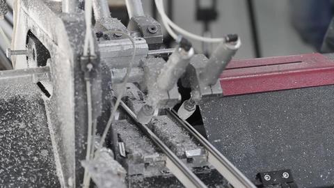 Cutting PVC profile with circular saw Footage