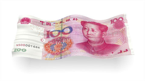 Background from China yuan banknote like flag wave – 3D illustration Animation