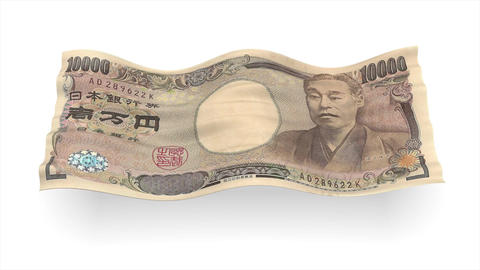 Background from Japanese yen banknote like flag wave – 3D illustration Animation