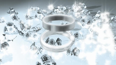 A pair of ring and silver flowers Footage