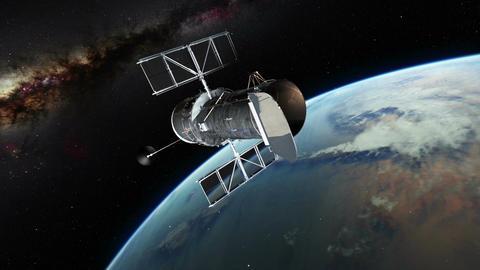 Orbiting hubble satellite Footage