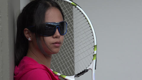 Young Female Tennis Player Wearing Sunglasses Live Action