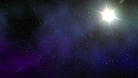 Sunny and starry sky in space Live Action
