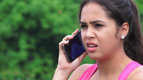 Upset Female Teen Listening To Cell Phone Footage