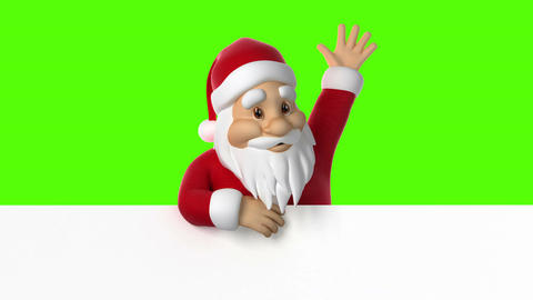 Santa Claus waving on a green background 애니메이션