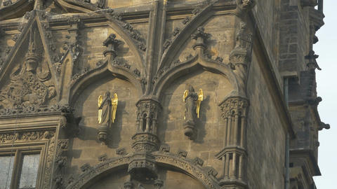 Gilded Angels on Prague Tower Footage