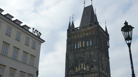 Powder Tower in Old Prague Footage