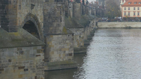 Medieval Karol Bridge in Prague Footage