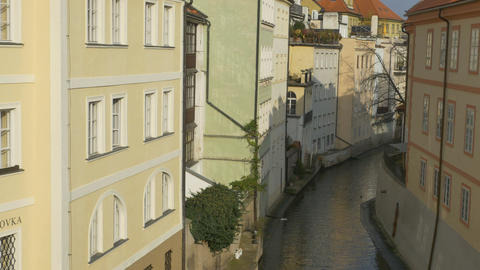 Water Channel in Old Prague Footage