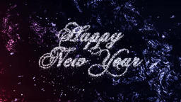 Happy New Year Loop Particles on Frost Background Animation