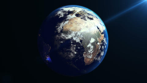 Earth Rotation in Space Animation