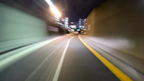 4K POV motion timelapse through the metropolitan highway Filmmaterial