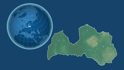 Latvia and Globe. Relief Animation