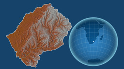 Lesotho and Globe. Relief Animation