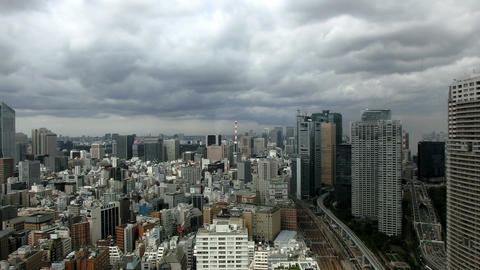 High angle time lapse view of Tokyo's heavily populated central area shot from t Footage