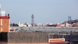 Torre Jaume I tower telephoto view, Aerial Tramway cabins hang on steel rope Footage