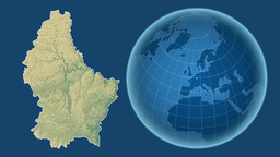 Luxembourg and Globe. Relief Animation