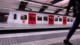 Suburban Line FGC Train Depart From Plaza De Catalunya Railway Station stock footage