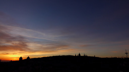 Sunrise at Barcelona, vivid and deep dawn sky, Montjuic hill silhouette Footage