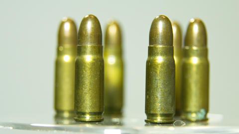 Macro shot of 9 mm handgun Bullets Footage