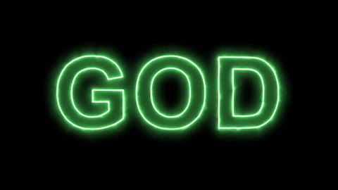Neon flickering green text GOD in the haze. Alpha channel Premultiplied - Matted Animation