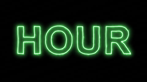 Neon flickering green text HOUR in the haze. Alpha channel Premultiplied - Animation