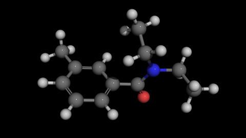 deet diethyltoluamide molecule model rotating Animation