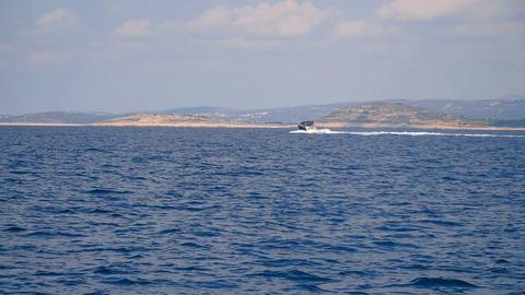 CROATIA, ADRIATIC SEA, 2017.11.07: Seascape view from moving sailing boat Footage