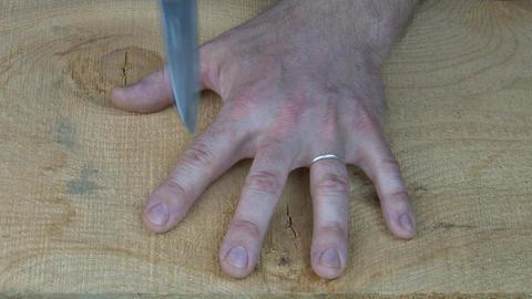 Knife finger game Footage