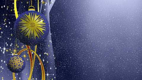 Blue and golden Christmas sparkling bulbs and ribbons with snowfall, holiday Animation
