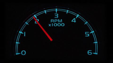 Tachometer/RPM gauge revving, closeup Footage