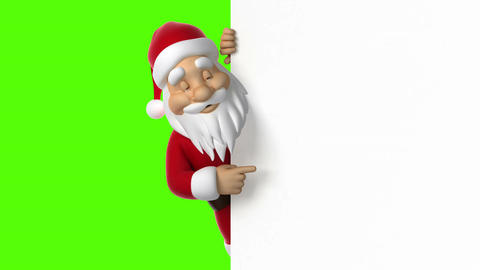 Santa Claus points to the screen Animation