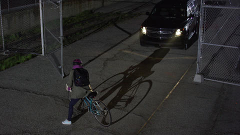 Car almost hits bicyclist but stops abruptly Footage