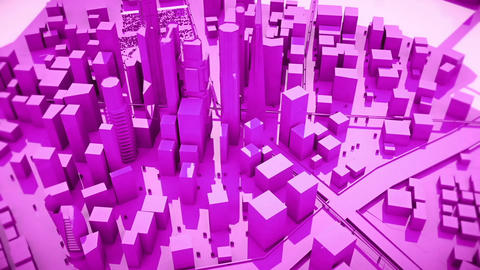 Abstract animation of a camera moving around the purple city buildings Looping Animation