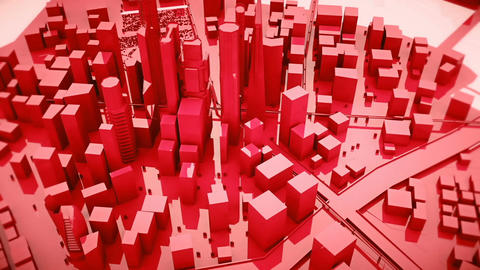 Abstract animation of a camera moving around the red city buildings Looping Animation