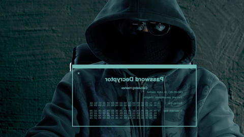 Man hacker sits at night in front of virtual screen and phishing. Virtual screen Live Action