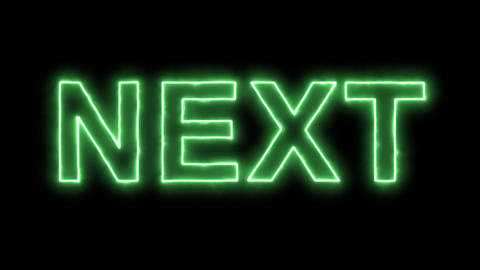 Neon flickering green text NEXT in the haze. Alpha channel Premultiplied - Animation