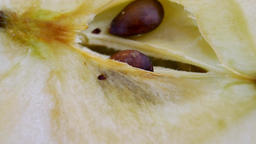 Slice of half-cut apple are spinning Footage