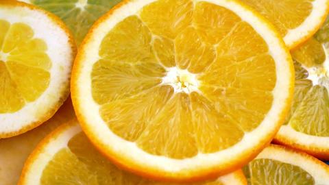 Orange slices rotations Footage