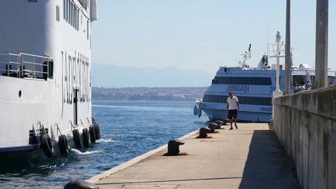 ZADAR, CROATIA, 12.8.2017: Sea ferrys going in and out of the port Filmmaterial