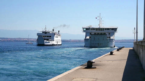 ZADAR, CROATIA, 12.8.2017: Sea ferrys going in and out of the port Footage