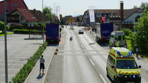 LJUBLJANA, 28.9.2017, Amateur cycling race: Ambulace escort and lay down cycle Live Action