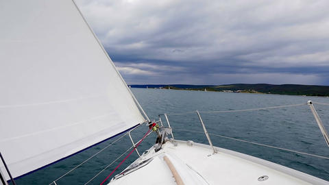 Sailing boat making a turn. Group sailing in Croatian Adriatic sea Footage