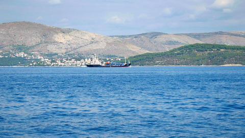 CROATIA, ADRIATIC SEA, 2017.11.07: Big ship floating by Croatian coastline Footage