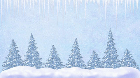 Pine trees at snowfall, snowflakes falling and icicles, frosty landscape, winter Animation
